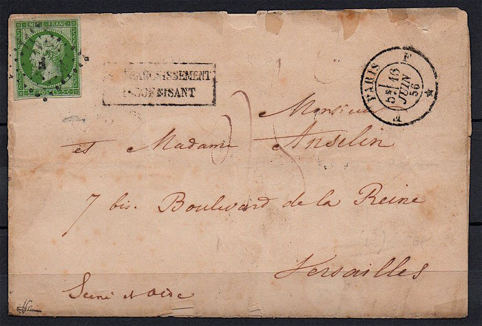 "France 1856 - Napoléon 5c green, alone on a postage due letter for ""insufficient postage"", signed JF Brun - Yvert n° 12"