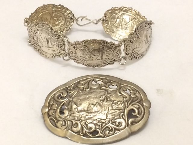 Antique silver bracelet and brooch - B. van Tiggelen and Alex Meijer - Schoonhoven - 1920s - bracelet 20 cm, brooch 6 cm