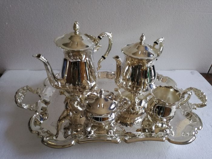 Set for tea and coffee, 5 pieces made of galvanised aluminium and mirror silver-plating 1980s new
