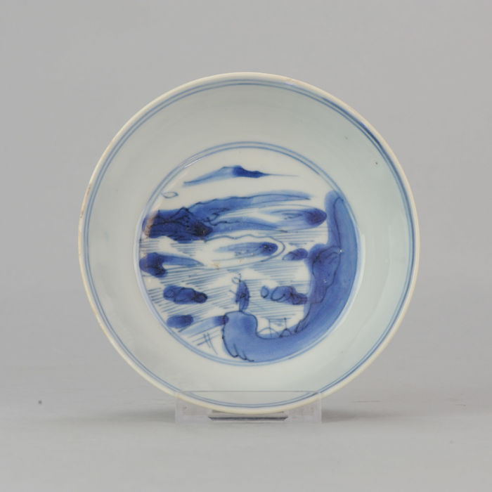 Porcelain bowl with Literati Scene  - China - Ming / Transitional 17th century Period