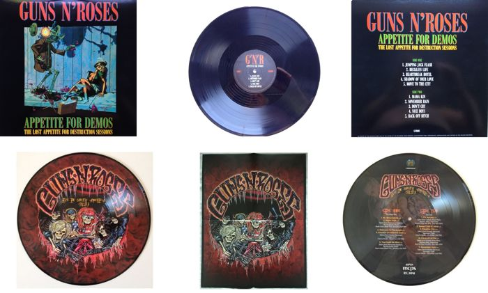 "Guns 'N' Roses  LP ""Appetite For Demos / The Lost Appetite For Destruction Sessions""  &  Picture Disc ""Live In South America 1991 - 1993"" Including Poster"