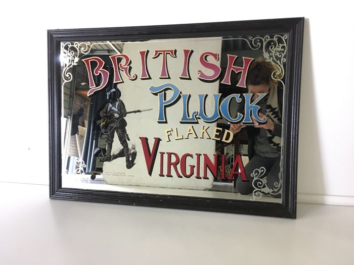 Advertising mirror / advertising sign 'British Pluck Flaked Virginia'