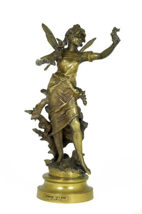After Louis Moreau - bronze sculpture of a Dryad titled 'Nymphe des Bois' - France - 2nd half of the 20th century