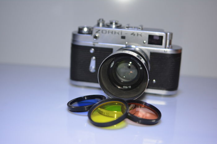 Zorki 4K camera with 50 mm lens, copy of the Jupiter 8 and 4