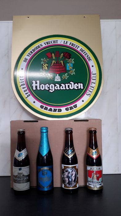 "Hoegaarden advertising sign and corresponding ""grand cru"" bottles"