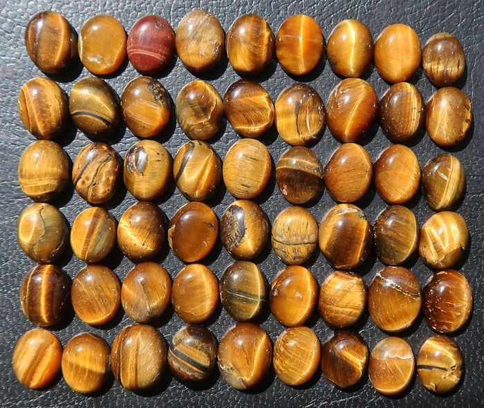 Lot of cabochons in natural tiger eye - 1.1 to 2 cm - 510ct (54)