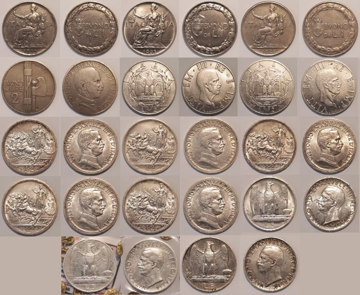 Italy, Kingdom - Lot of 14 pieces (Vittorio Emanuele III) - 1 Lira token - 2 Lire 'Chariot' - 2 Lire 'Empire' - 2 Lire token - 5 Lire 'Eagle'
