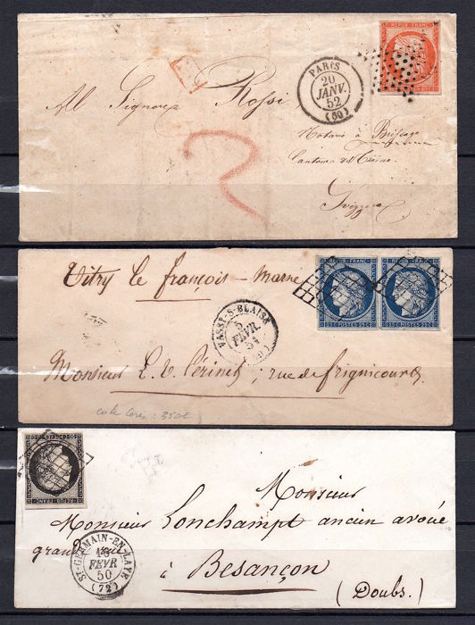 France 1850/52 - Lot of 3 envelopes with Cérès 20c, 25c and 40c - Yvert n° 3, 4, 5