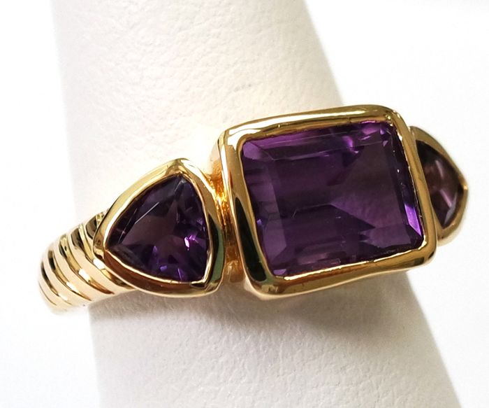 New 14CT Yellow Gold with Octagon Cut and Trillion Cut Natural Amethyst & Diamond Ring SizeN