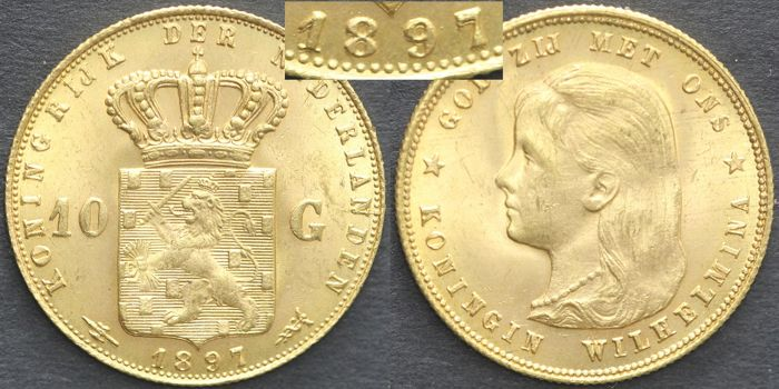 The Netherlands - 10 guilders 1897 b / 1897 Wilhelmina - gold