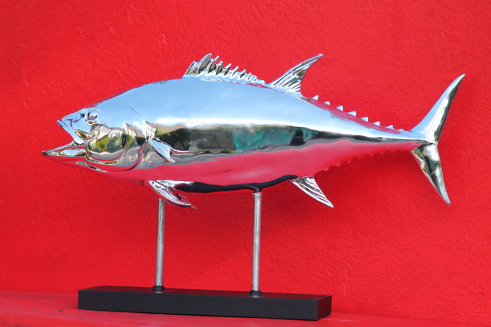 Beautiful large chrome-plated tuna fish on stand for your home or restaurant
