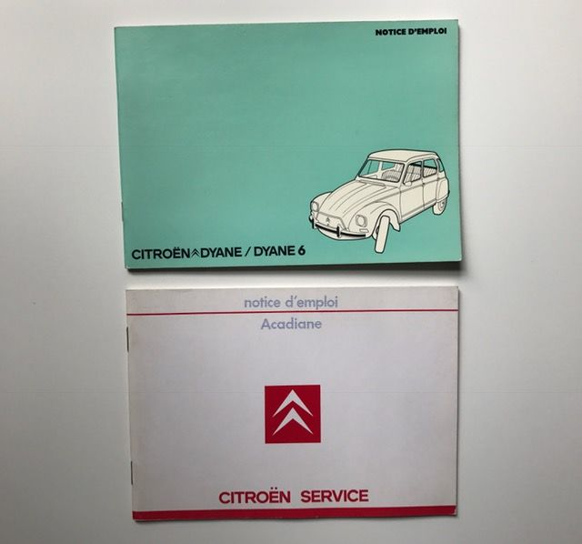 Citroen 1x Dyane + 1x Acadiane UNUSED instruction owners manuals