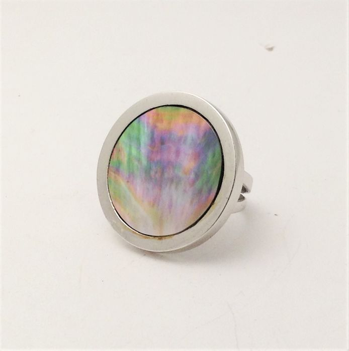 18 kt white gold ring - mother of pearl - 100% handmade in Italy