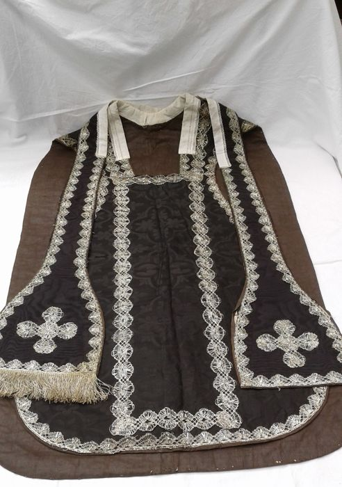 Priestly liturgical vestment - chasuble and stole trimmed with silver filigree