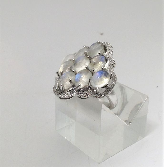 White gold ring (18 karats) - Adularia - diamond - 100% handmade in Italy