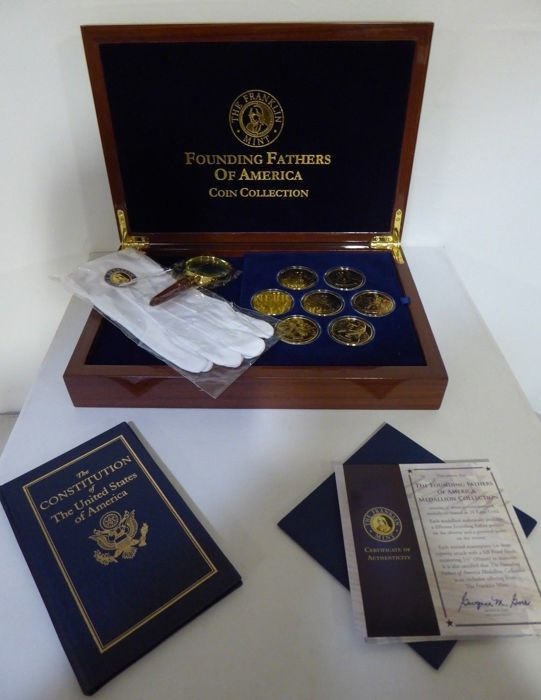"Franklin Mint  Collector -  "" Founding Fathers of America Coin Collection "" - 24 carat gold plated - Certificates of Authenticity"