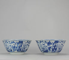 2 large Porcelain Bowls with Figures - China - Kangxi  - Ca 1700