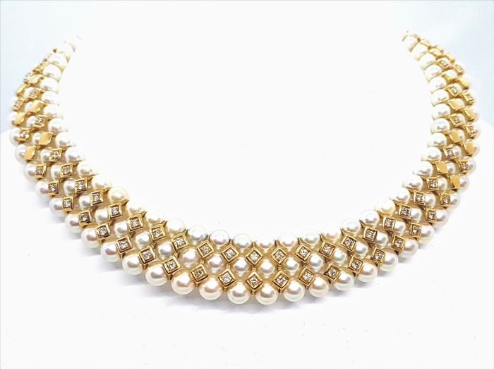 Necklace - Culture pearls - 3 rows - 18 kt yellow gold - Diamonds 2.13 ct - 38 cm - New