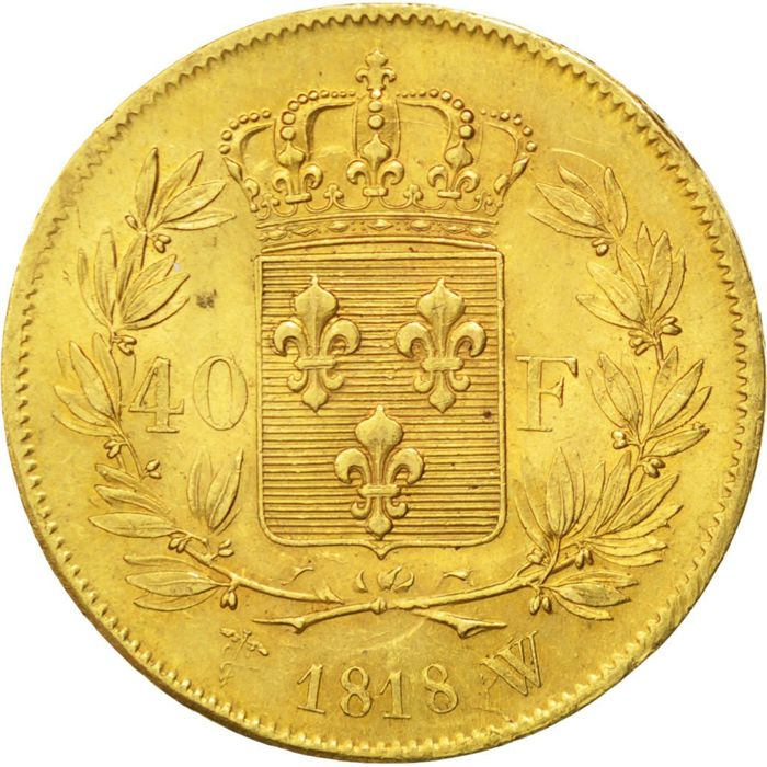 France – 40 Francs 1818 W (Lille) – Louis XVIII – gold