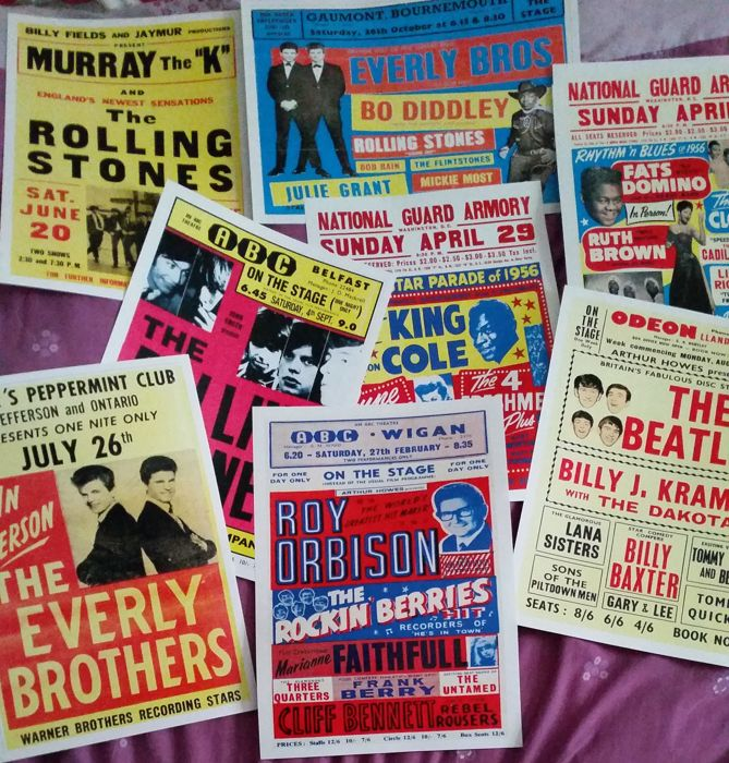 Eight very cool Rock 'n' Roll  concert posters( reproduction ). Including The Beatles and Rolling Stones. Size A3
