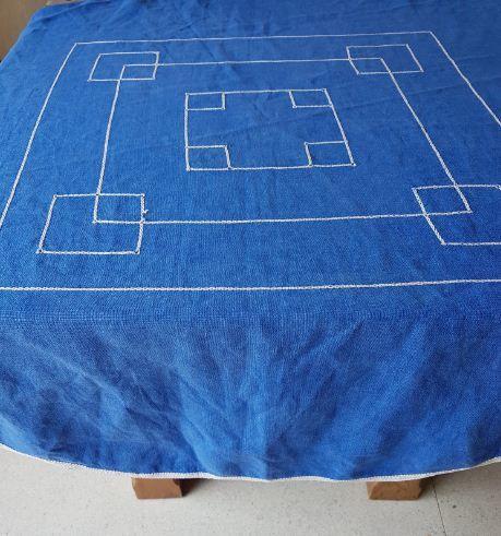 Blue hand embroidered tablecloth
