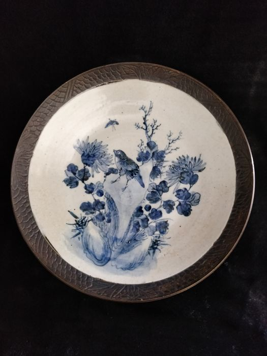 Rare blue and white Nankin porcelain dish decorated with flowers and birds - China - 19th century
