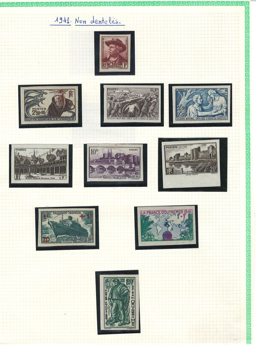 France 1940/1941 – Collection of imperforated stamps including signed Brun – Yvert no. 470 to 473, 494 to 522, 524 missing the 506