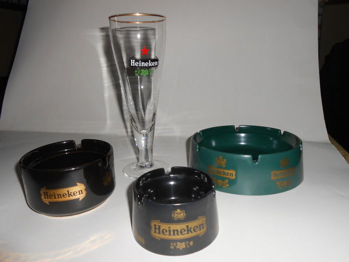 Collector's items Heineken 3 ashtrays and crystal faceted glass