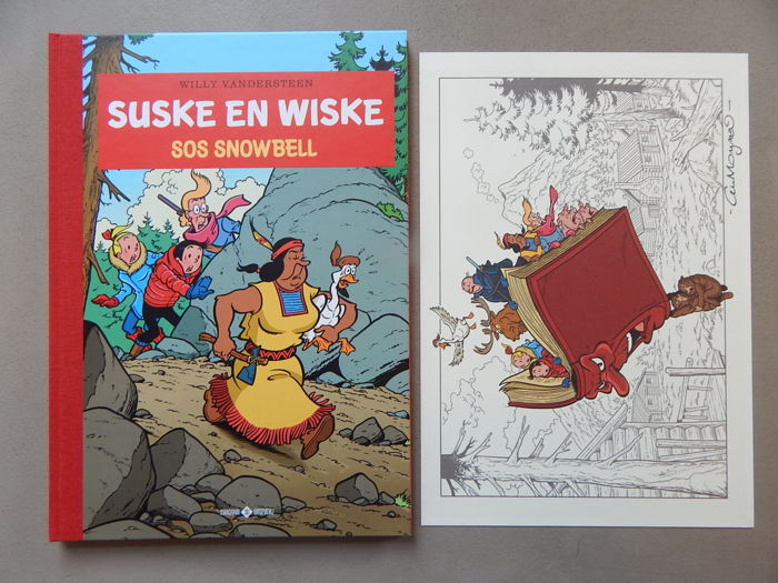 Suske en Wiske 343 - SOS Snowbell + signed print - Author's copy - deluxe hc with cloth spine - 1st edition (2018)