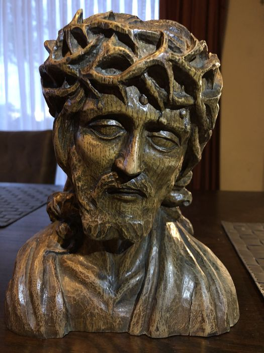 Antique wooden statue - Christ with crown of thorns - 16th / 17th century - origin France