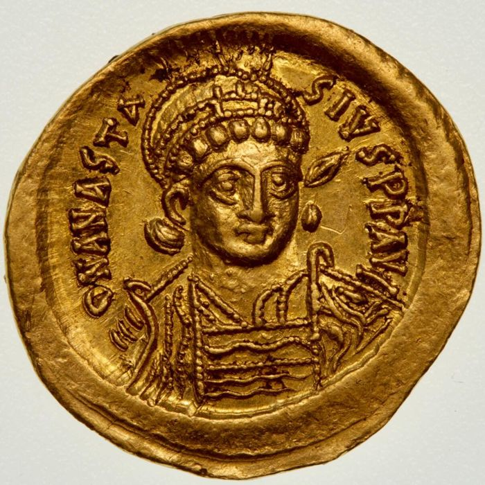 Byzantine Empire - Anastasius I (491-518 AD). AV Solidus, Constantinople. Sharply struck