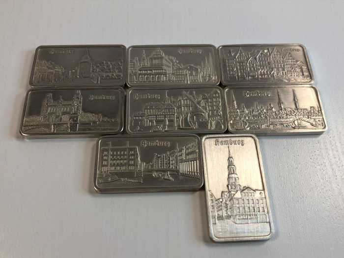 Heraeus - 8 x 1 oz 999 - collection of beautiful old historic silver bullion city of Hamburg - theme bars