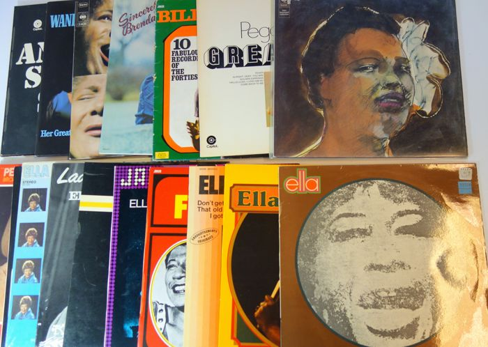 Jazz; Billie Holiday, Mahalia Jackson, Fitzgerald&others - Lot with 16 albums