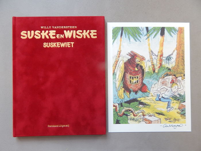 Suske en Wiske 329 - Suskewiet + signed print - artist's proof - super de luxe velvet hardcover - first edition (2015)