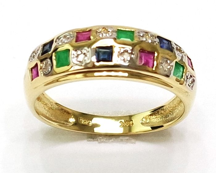 Square Cut Natural Sapphire, Ruby, Emerald & Diamond 14KT Yellow Gold Ring - Size N 1/2