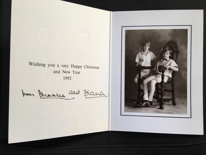 Princess Diana and Prince Charles autograph Christmas card 1992