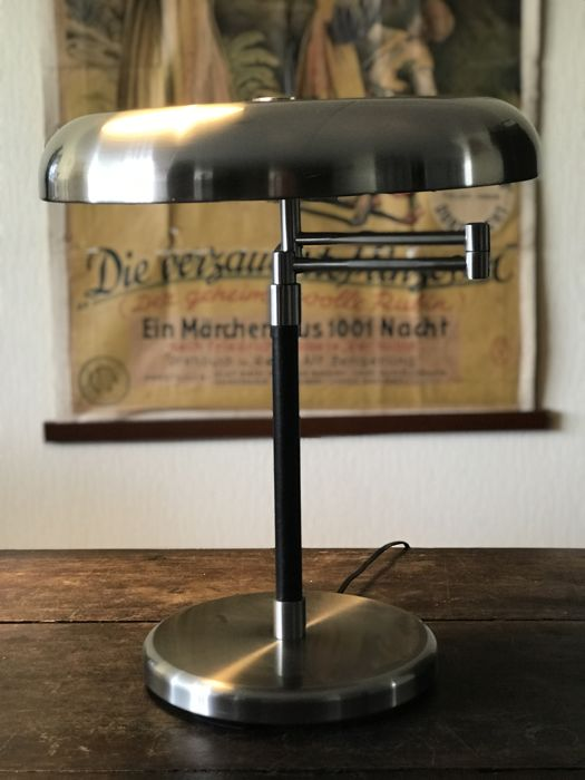 Unknown designer - Adjustable lamp - Brushed steel/leather