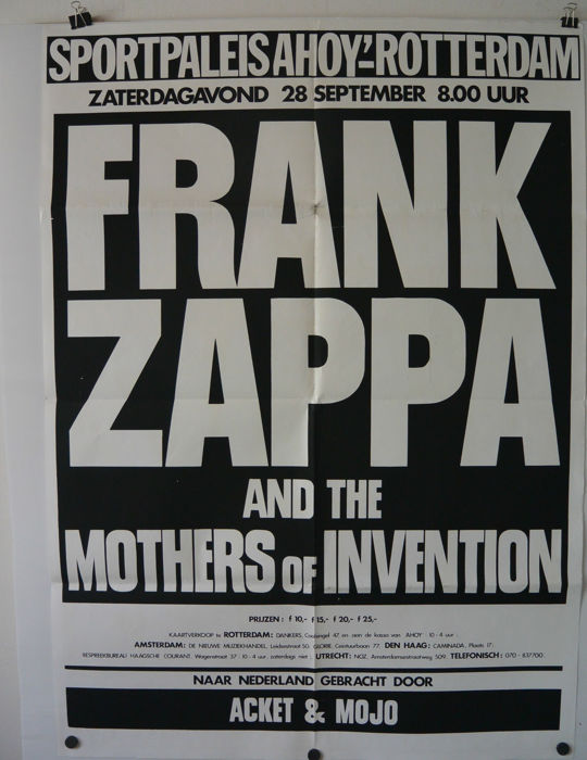 Frank Zappa Mothers of invention 1974 Rotterdam 28-09-1974