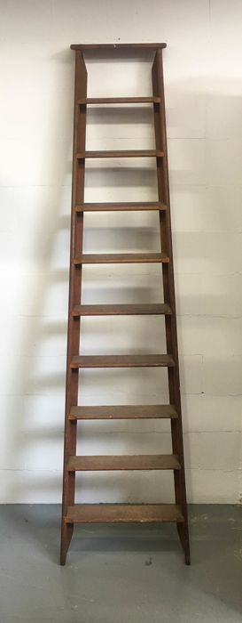 Large old wooden ladder mid 20th century