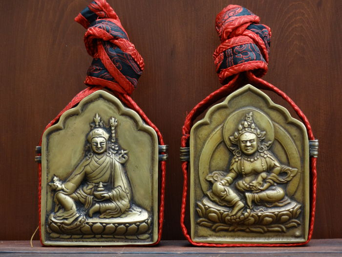TWo copper ghau prayer boxes. Tibet/Nepal - late 20th century