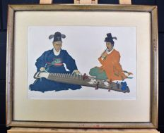 Elizabeth Keith (1887-1956) - Musicians, Korea - Woodblock print or colour etching - Signed - 1925