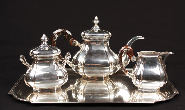 Silver 4-piece tableware, Zilverfabriek Voorschoten, The Netherlands, 1950