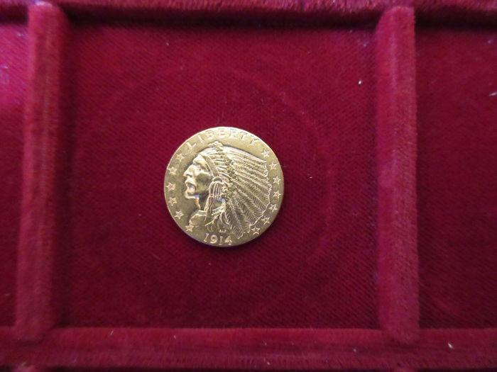 United States - 1914 - 2½ dollars gold Indian Head - Krause KM #128