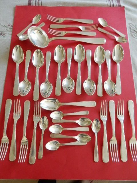 """CHRISTOFLE ALFENIDE"" - beautiful 35-piece cutlery set - Silver Plated Metal - very little used - Art Deco style ""TOSCA"" model - circa 1930s-1940s - France"