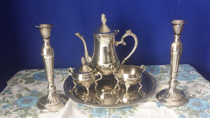 Silver plated Tea set & Silver plated Candle stands