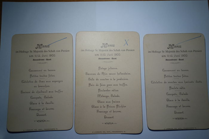 3 Different dinner menus from the 11th/12th June1900 in the Court train of his Majesty of the Shah of Persia Mozaffar ad-Din * 1853 - + 1907 (1896-1907)