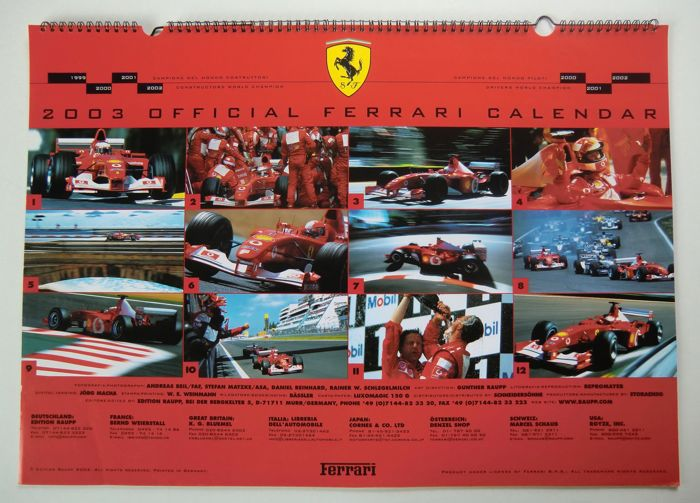 Official Ferrari Calendar 2003