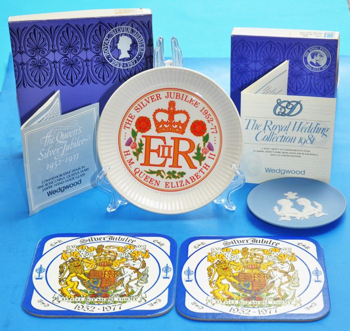 British Royal Commemorative Plates and Trivets Queen Elizabeth II + Prince Charles and Lady Dianna