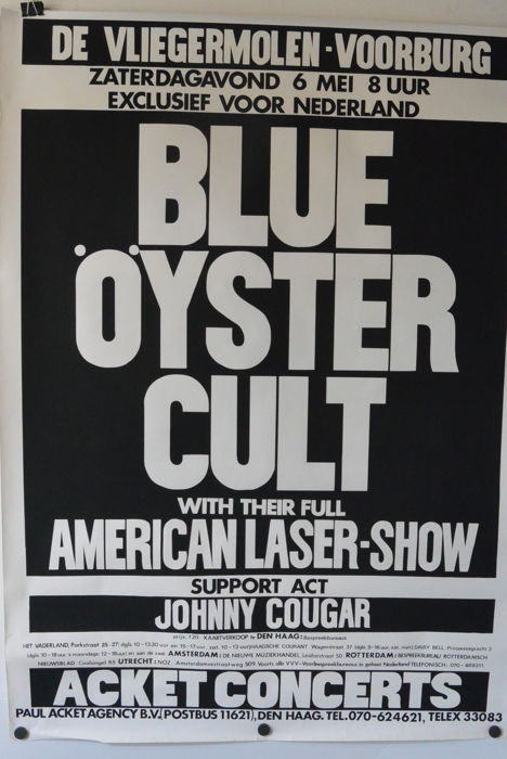 Blue Oyster Cult, Vliegermolen Voorburg, The Netherlands, 06-05-1978