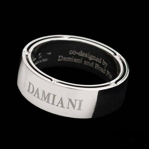 Damiani - Wedding Ring in 18 kt White Gold with 10 Brilliant Cut Diamonds for 0.005 ct, Series D Side Brad Pitt, Size 29, Total Weight 13.56 g